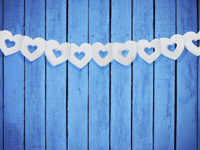 Girlanda bibułowa - Serce białe