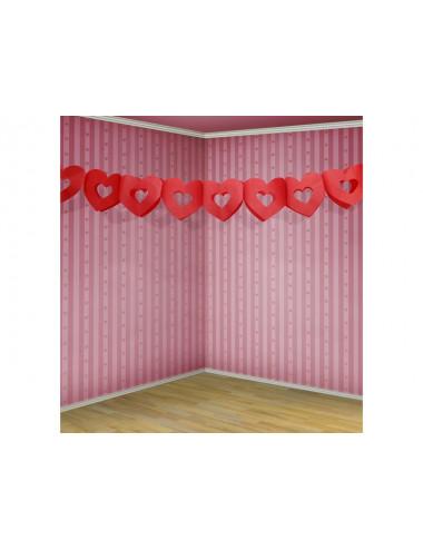 Girlanda bibułowa - Serce czerwone