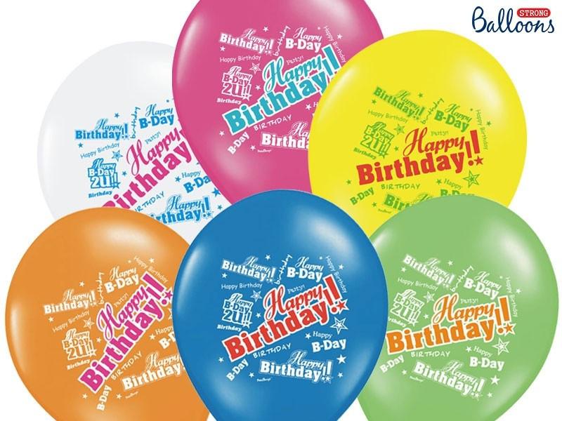 Balony Happy Birthday mix kolorów
