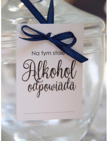 """Zawieszki """"Za alkohol odpowiada..."""" weselne"""