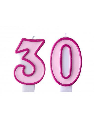 Świeczki na tort 30 urodziny różowe