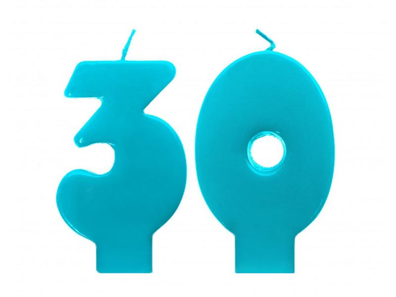 Świeczka urodzinowe cyferka 30 turkusowe