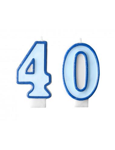 Świeczki na tort 40 urodziny niebieskie