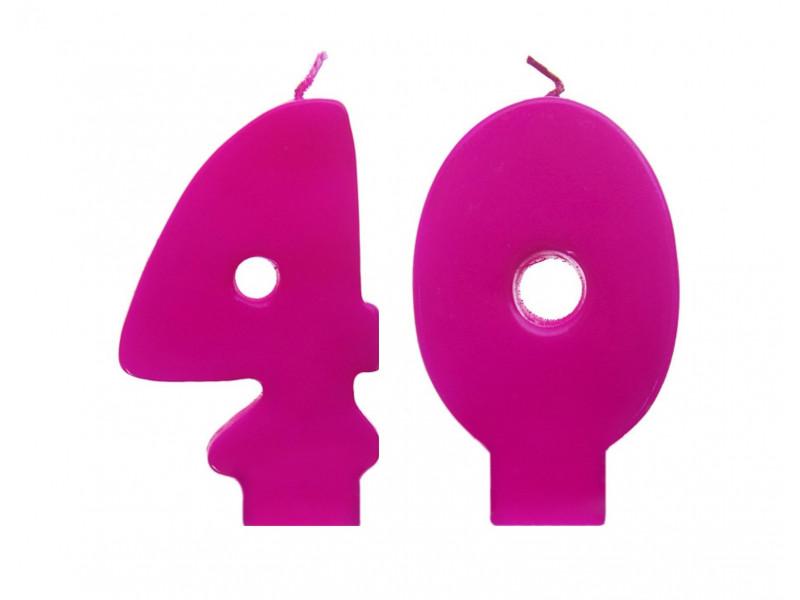Świeczki urodzinowe 40 różowe