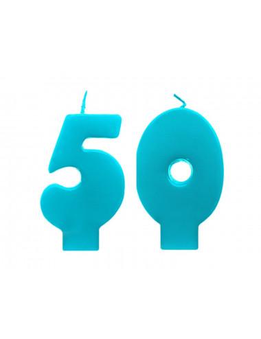 Świeczki urodzinowe 50 turkusowe