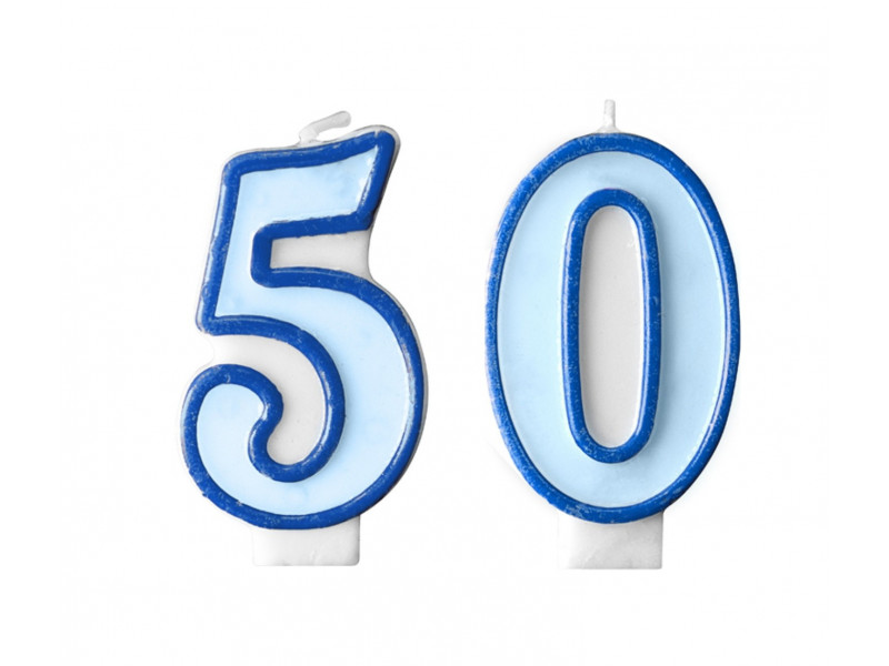 Świeczki na tort 50 urodziny niebieskie