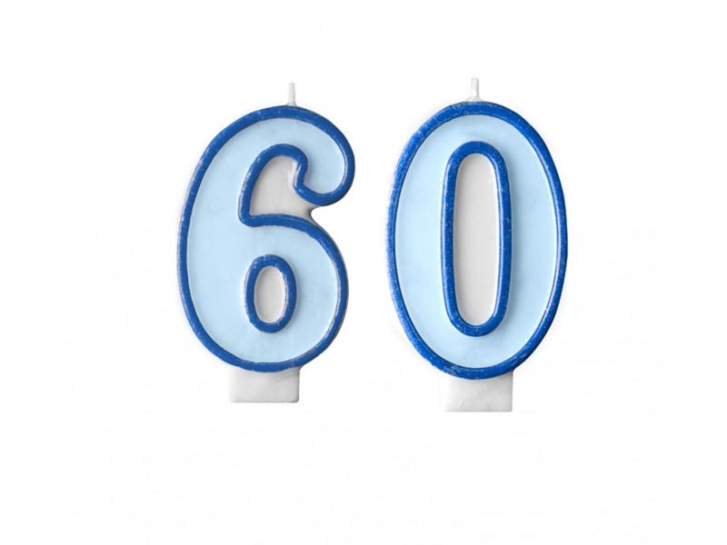 Świeczki na tort 60 urodziny niebieskie