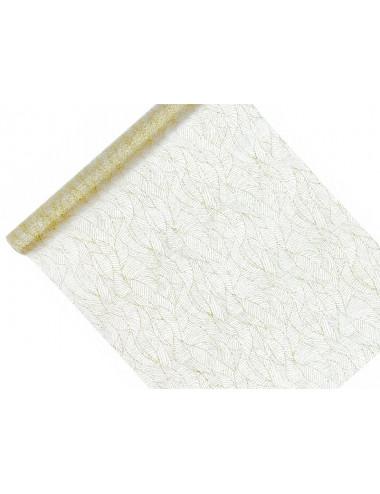 Organza biała ze złotym liśćmi brokatowymi