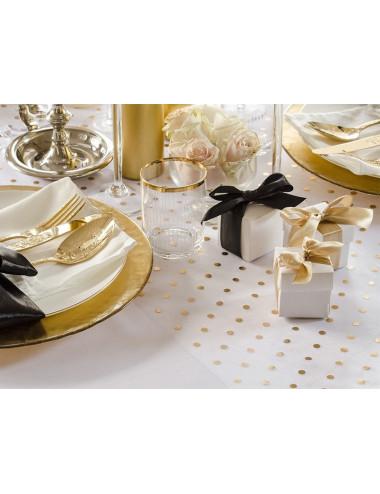 Organza biała ze złotymi lub srebrnymi kropkami