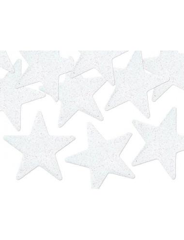 Gwiazdki brokatowe białe 5 cm