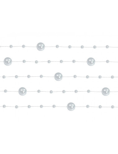 Perełki na żyłce - girlanda srebrne