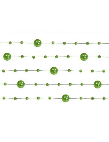 Perełki na żyłce - girlanda zielone