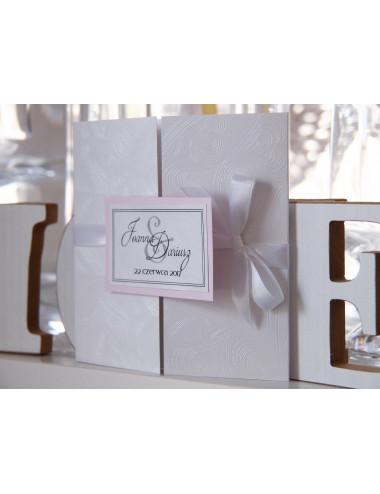 Zaproszenie ślubne prostokąt z kokardką