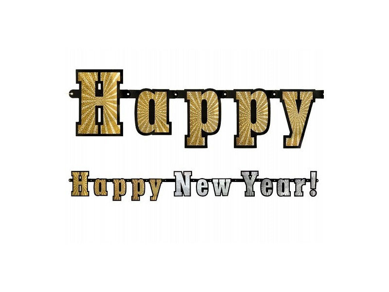 Baner Happy New Year holograficzny