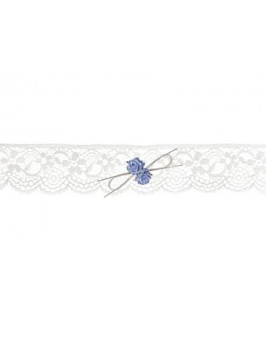 Podwiązka koronkowa z niebieskimi różyczkami