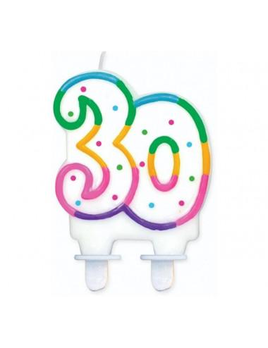 """Świeczka cyferka z kropeczkami """"30"""