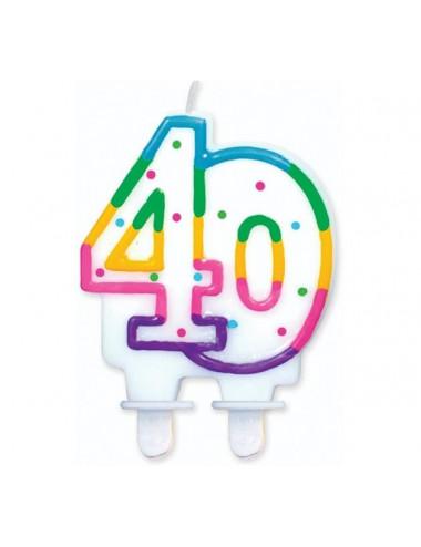 """Świeczka cyferka z kropeczkami """"40"""""""