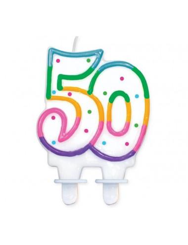 """Świeczka cyferka z kropeczkami """"50"""""""