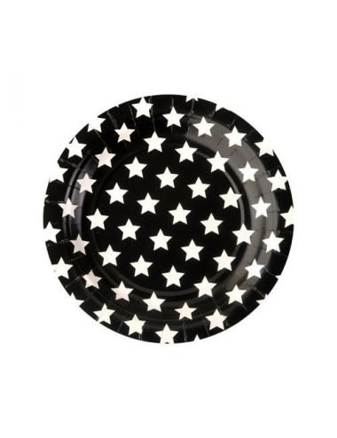 Talerzyki papierowe  w białe gwiazdki