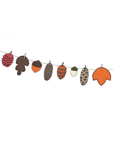 Girlanda Woodland - szyszki i liście,
