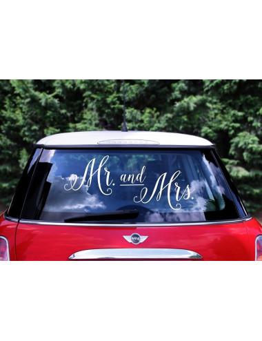Naklejka ślubna na samochód - Mr. and Mrs.