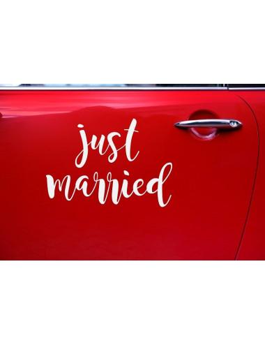 Naklejka ślubna na samochód - Just married