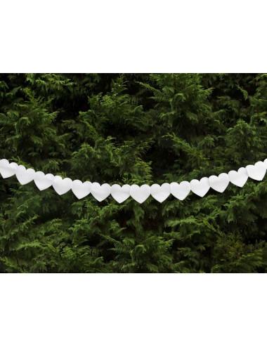 Girlanda bibułowa - Serce pełne białe