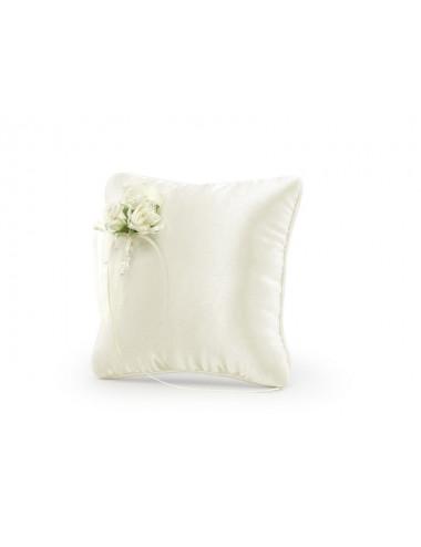 Poduszka pod obrączki kremowa z kwiatami