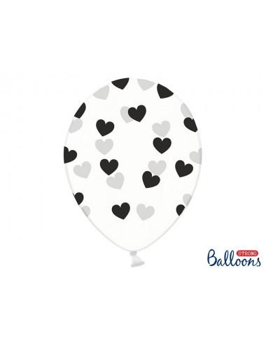 Balony przeźroczyste z nadrukiem Serduszka
