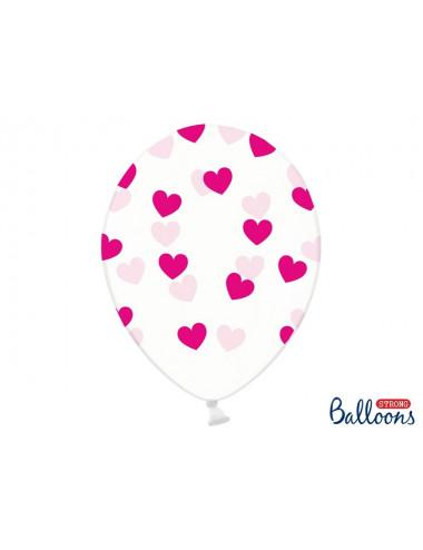 Balony z pięciostronnym nadrukiem Serduszka