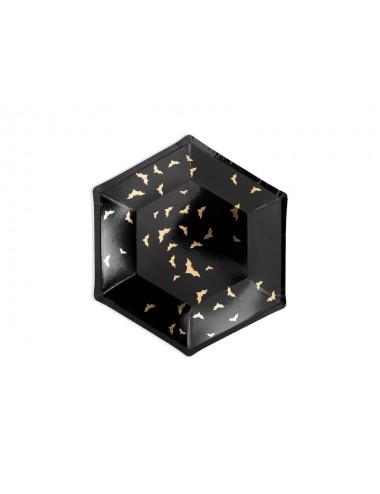 Talerzyki czarne z złotym wzorem