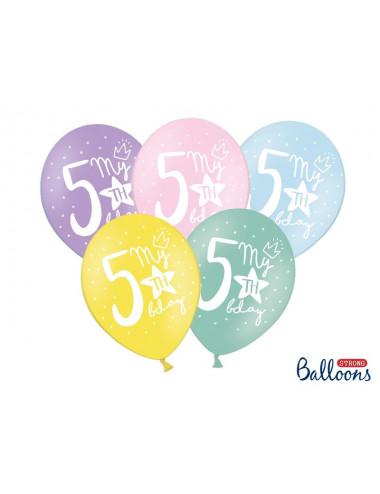 Balony pastelowe na 5 urodziny