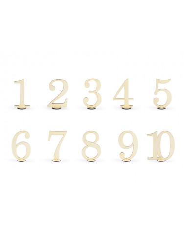 Drewniane numery na stół