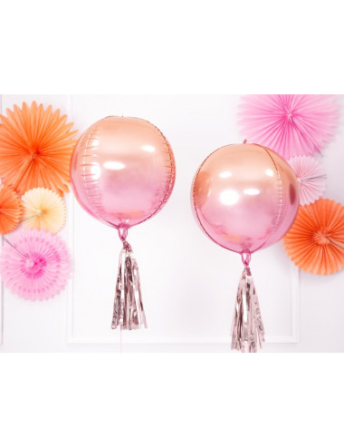 Balon foliowy Kula ombre, różowo-pomarańczowy