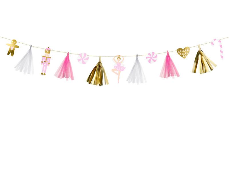 Świąteczna girlanda papierowa złoto różowa z pajacykiem i piernikowym ludzikiem