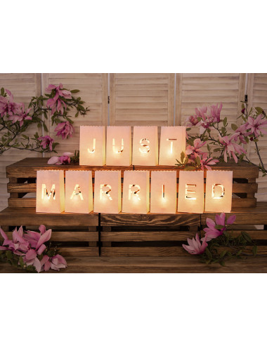 Lampiony, torebki na świece - Just Married
