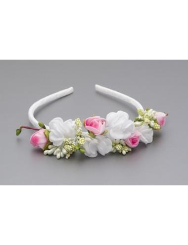 Opaska komunijna z białymi i różowymi kwiatkami