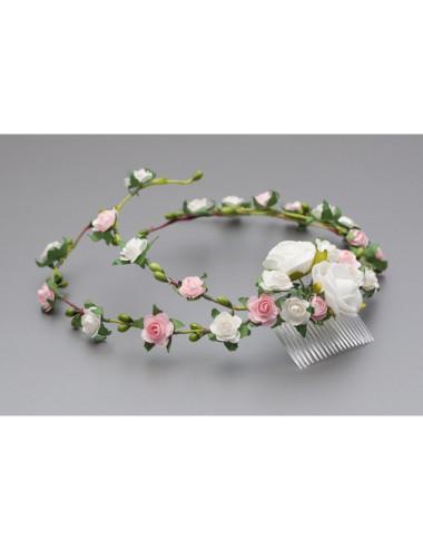 Gałązka, kwiatki do włosów, biała i różowa