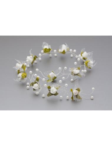 Gałązka, kwiatki do włosów, biała