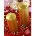 Świece walec metalizowane złote