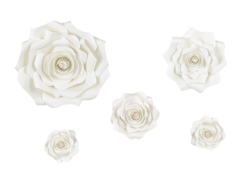 Kwiaty papierowe duże na tło mix, ecru