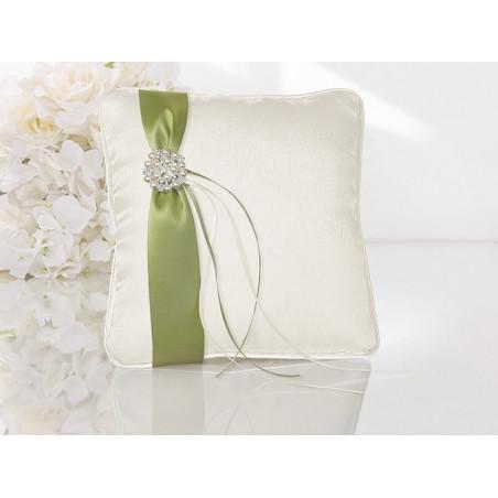 Poduszka pod obrączki biała z zieloną wstążką