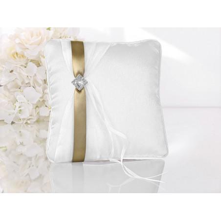 Poduszka pod obrączki biała z złotą wstążką