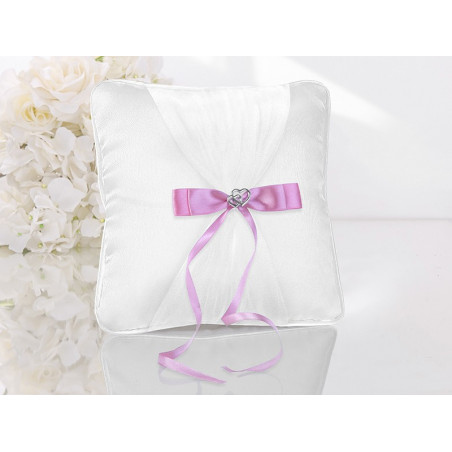 Poduszka pod obrączki biała z różową kokardą
