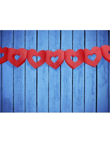 Girlanda bibułowe - Serca czerwone