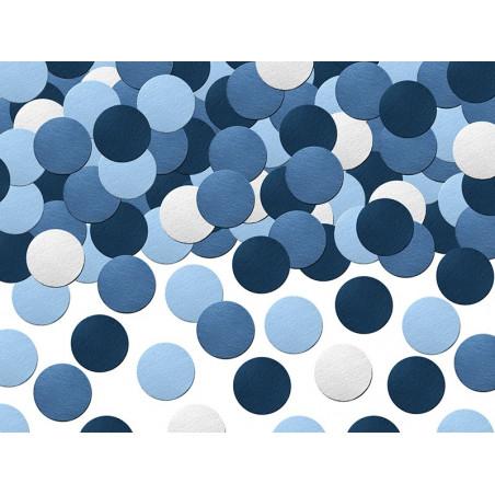 Konfetti biało niebieskie kółka samolocik