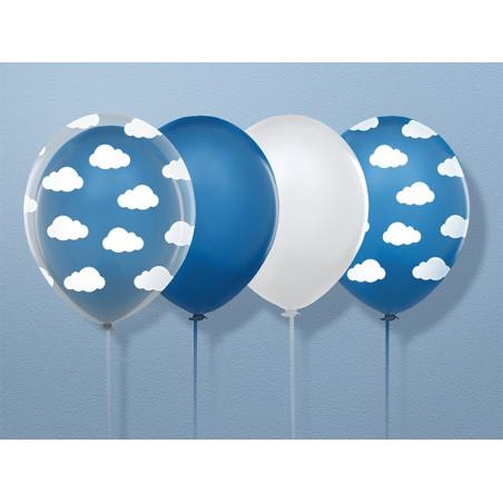 Balony pastelowe z nadrukiem w chmurki