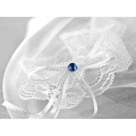 Podwiązka biała koronkowa