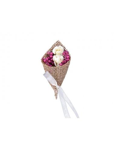 Kotyliony z jutą i suszonymi kwiatami