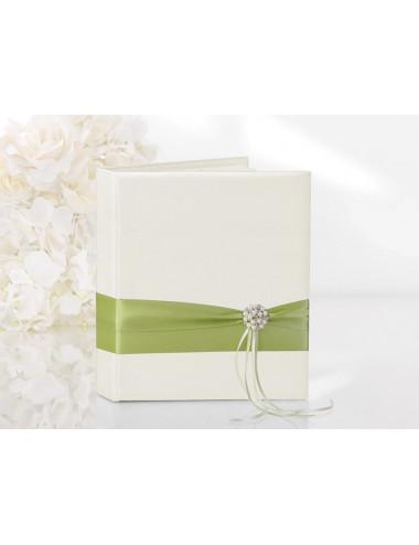 Księga gości kremowa z zieloną tasiemką
